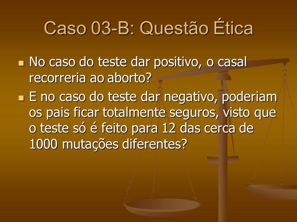 Caso 03-B: Questão Ética No caso do teste dar positivo, o casal recorreria ao aborto? No caso do teste dar positivo, o casal recorreria ao aborto? E n
