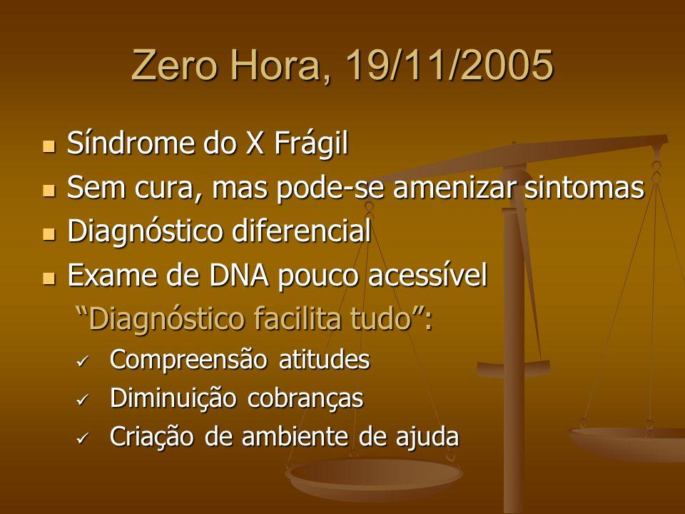 Zero Hora, 19/11/2005 Síndrome do X Frágil Síndrome do X Frágil Sem cura, mas pode-se amenizar sintomas Sem cura, mas pode-se amenizar sintomas Diagnó