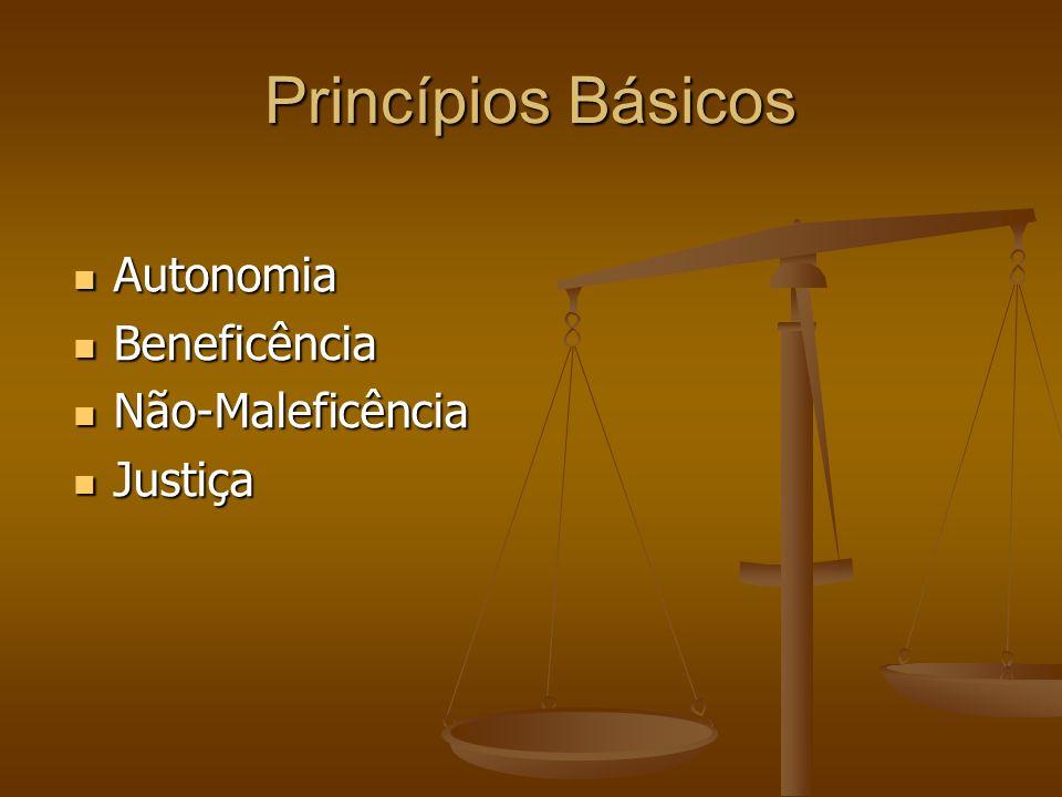 Princípios Básicos Autonomia Autonomia Beneficência Beneficência Não-Maleficência Não-Maleficência Justiça Justiça
