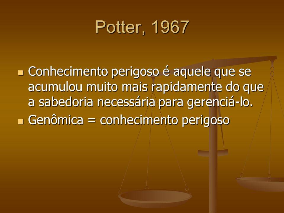 Potter, 1967 Conhecimento perigoso é aquele que se acumulou muito mais rapidamente do que a sabedoria necessária para gerenciá-lo. Conhecimento perigo