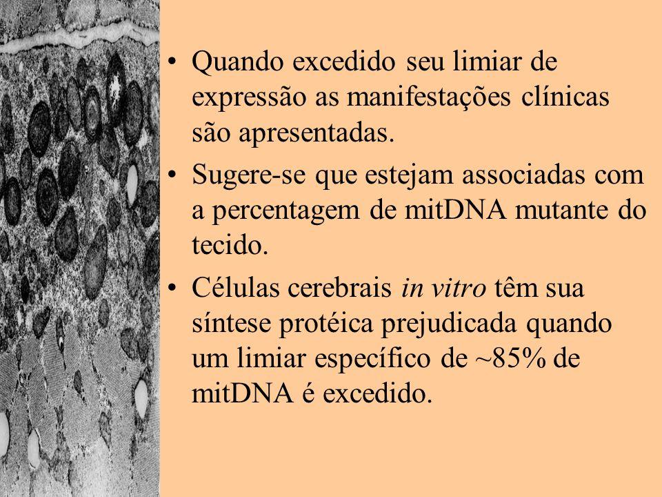 Quando excedido seu limiar de expressão as manifestações clínicas são apresentadas. Sugere-se que estejam associadas com a percentagem de mitDNA mutan