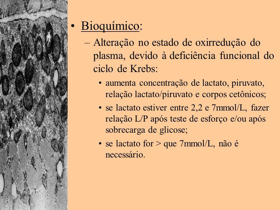 Bioquímico: –Alteração no estado de oxirredução do plasma, devido à deficiência funcional do ciclo de Krebs: aumenta concentração de lactato, piruvato