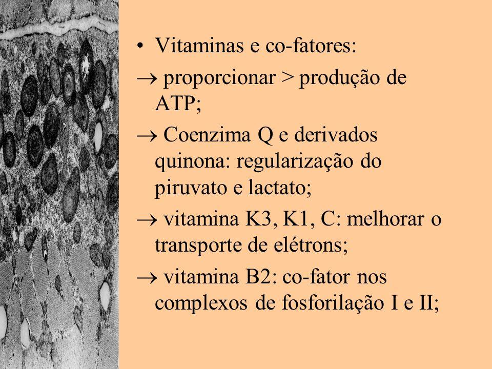 Vitaminas e co-fatores: proporcionar > produção de ATP; Coenzima Q e derivados quinona: regularização do piruvato e lactato; vitamina K3, K1, C: melho