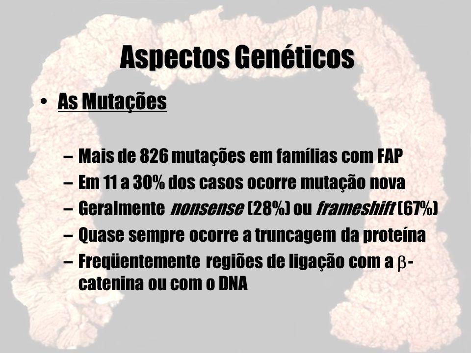 Aspectos Genéticos As Mutações –Mais de 826 mutações em famílias com FAP –Em 11 a 30% dos casos ocorre mutação nova –Geralmente nonsense (28%) ou fram