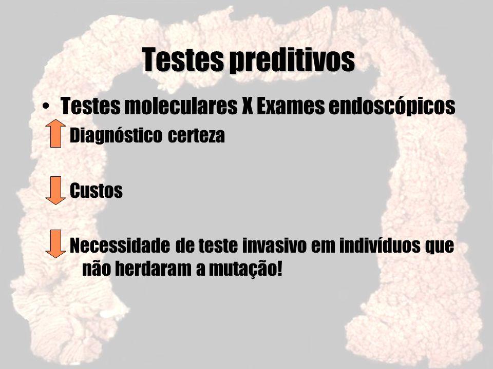 Testes preditivos Testes moleculares X Exames endoscópicos Diagnóstico certeza Custos Necessidade de teste invasivo em indivíduos que não herdaram a m