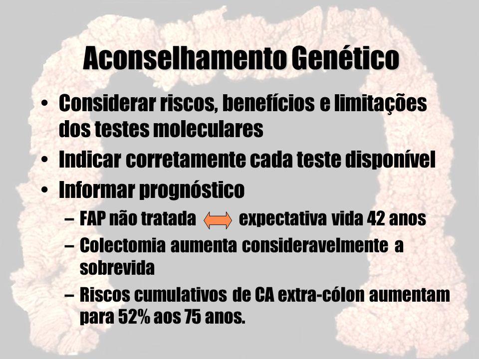 Aconselhamento Genético Considerar riscos, benefícios e limitações dos testes moleculares Indicar corretamente cada teste disponível Informar prognóst