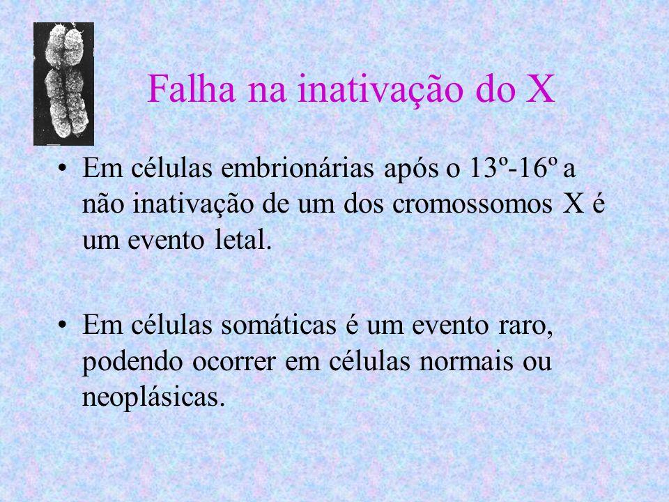Falha na inativação do X Em células embrionárias após o 13º-16º a não inativação de um dos cromossomos X é um evento letal. Em células somáticas é um