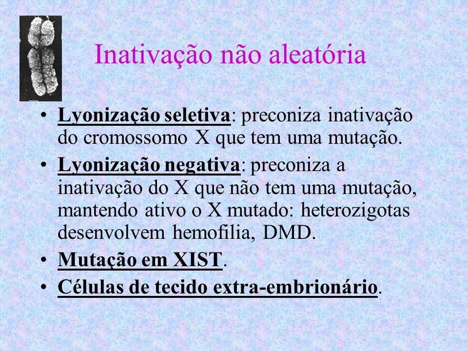 Inativação não aleatória Lyonização seletiva: preconiza inativação do cromossomo X que tem uma mutação. Lyonização negativa: preconiza a inativação do