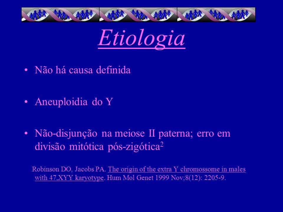 Etiologia Não há causa definida Aneuploidia do Y Não-disjunção na meiose II paterna; erro em divisão mitótica pós-zigótica 2 Robinson DO, Jacobs PA. T
