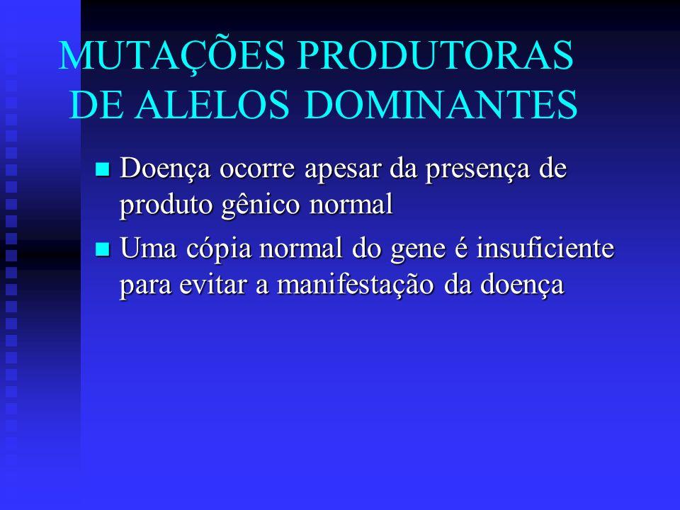 Doença ocorre apesar da presença de produto gênico normal Doença ocorre apesar da presença de produto gênico normal Uma cópia normal do gene é insufic