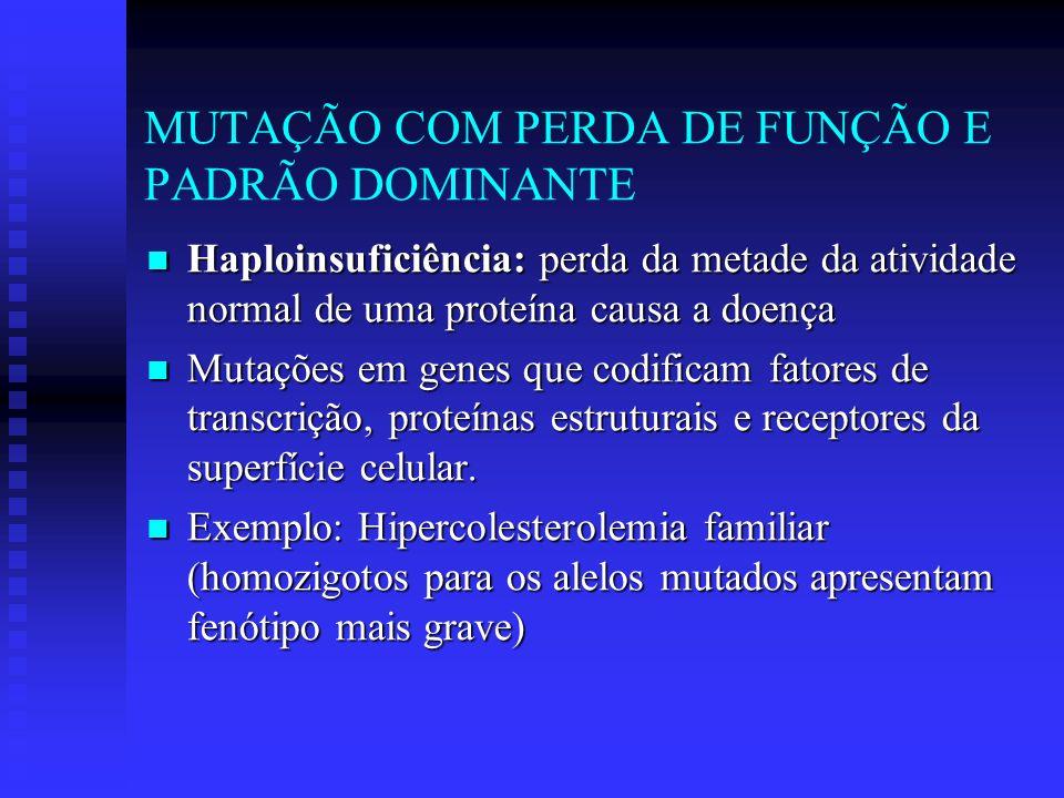 Haploinsuficiência: perda da metade da atividade normal de uma proteína causa a doença Haploinsuficiência: perda da metade da atividade normal de uma