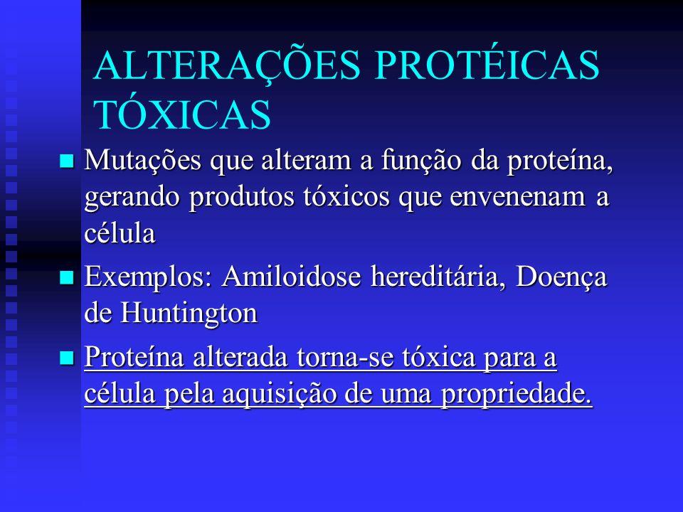 Mutações que alteram a função da proteína, gerando produtos tóxicos que envenenam a célula Mutações que alteram a função da proteína, gerando produtos