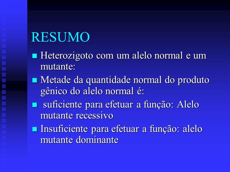 RESUMO Heterozigoto com um alelo normal e um mutante: Heterozigoto com um alelo normal e um mutante: Metade da quantidade normal do produto gênico do