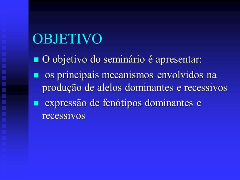 OBJETIVO O objetivo do seminário é apresentar: O objetivo do seminário é apresentar: os principais mecanismos envolvidos na produção de alelos dominan