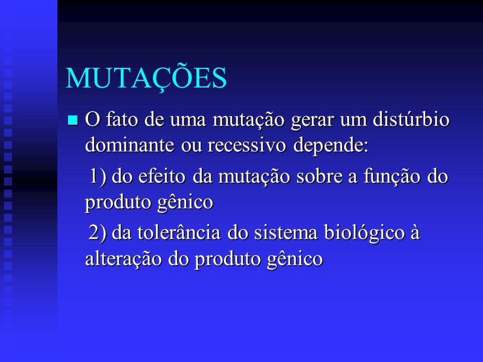 MUTAÇÕES O fato de uma mutação gerar um distúrbio dominante ou recessivo depende: O fato de uma mutação gerar um distúrbio dominante ou recessivo depe