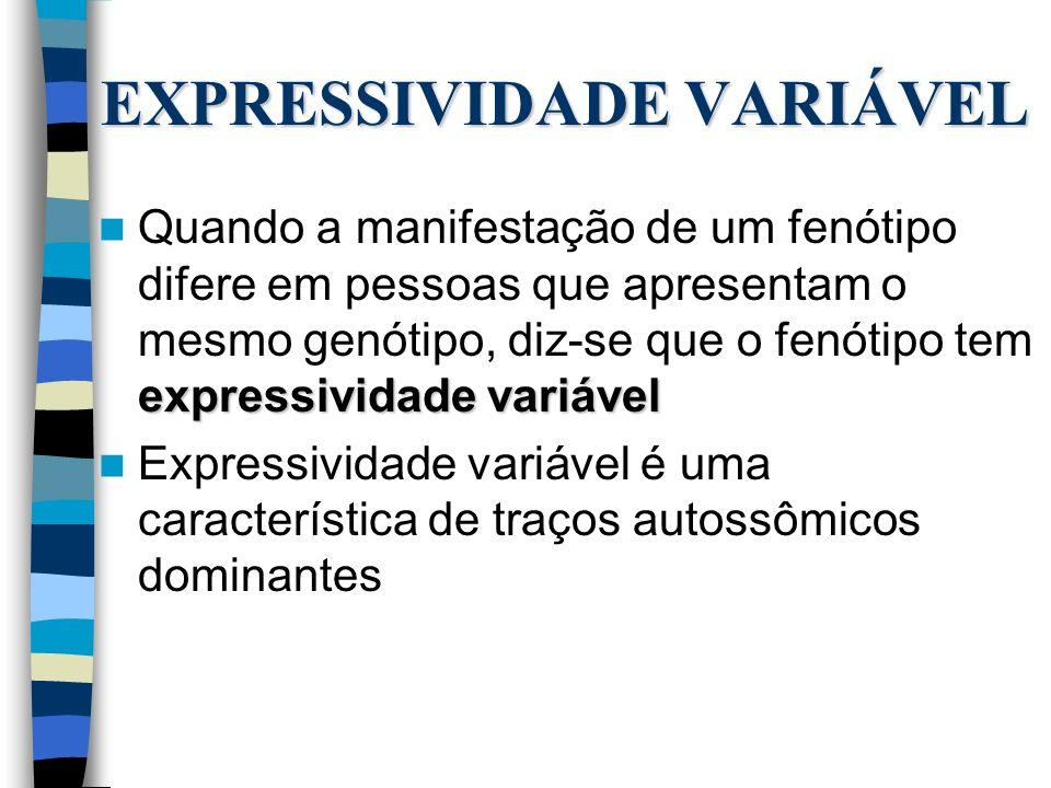 EXPRESSIVIDADE VARIÁVEL expressividade variável Quando a manifestação de um fenótipo difere em pessoas que apresentam o mesmo genótipo, diz-se que o f