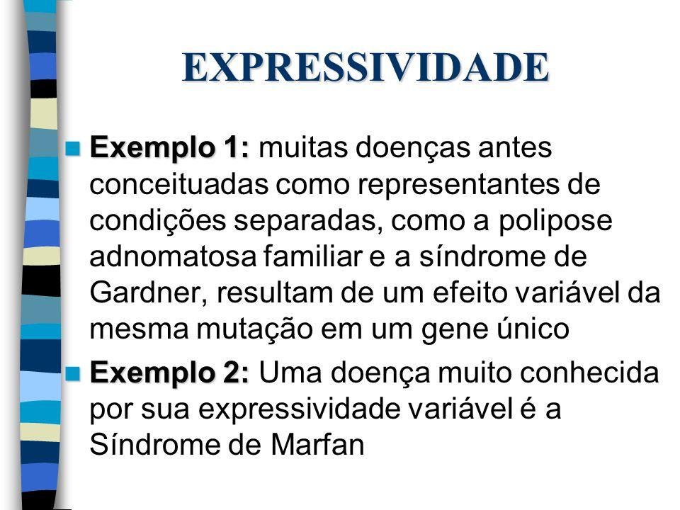EXPRESSIVIDADE Exemplo 1: Exemplo 1: muitas doenças antes conceituadas como representantes de condições separadas, como a polipose adnomatosa familiar