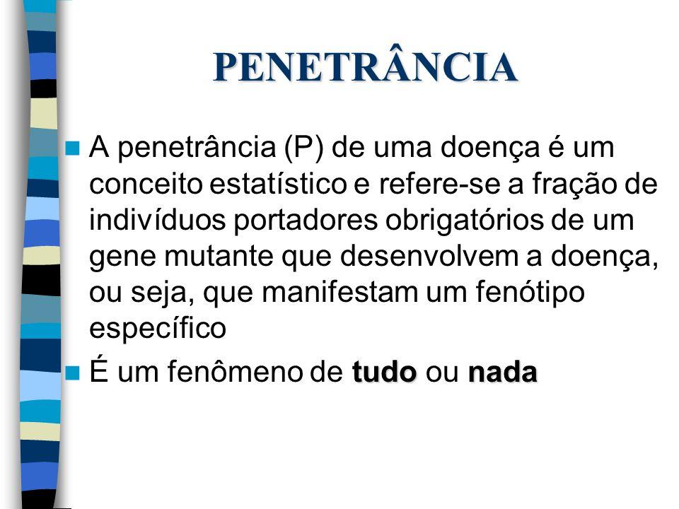 PENETRÂNCIA A penetrância (P) de uma doença é um conceito estatístico e refere-se a fração de indivíduos portadores obrigatórios de um gene mutante qu