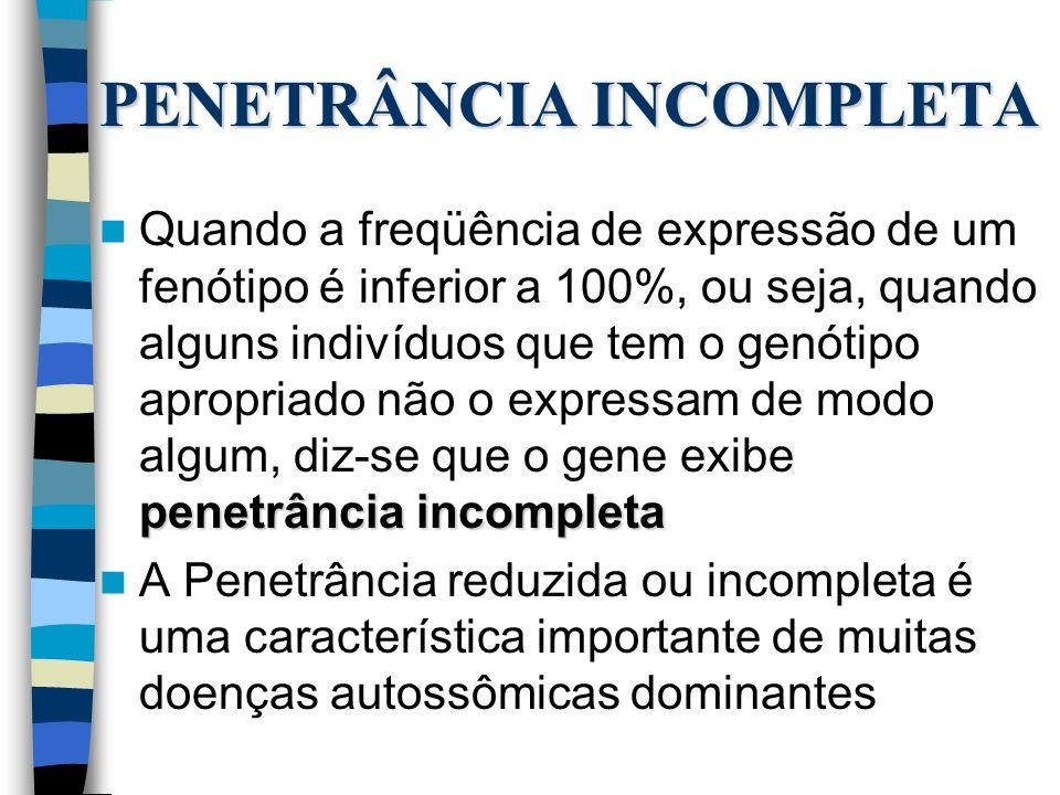 PENETRÂNCIA INCOMPLETA penetrância incompleta Quando a freqüência de expressão de um fenótipo é inferior a 100%, ou seja, quando alguns indivíduos que