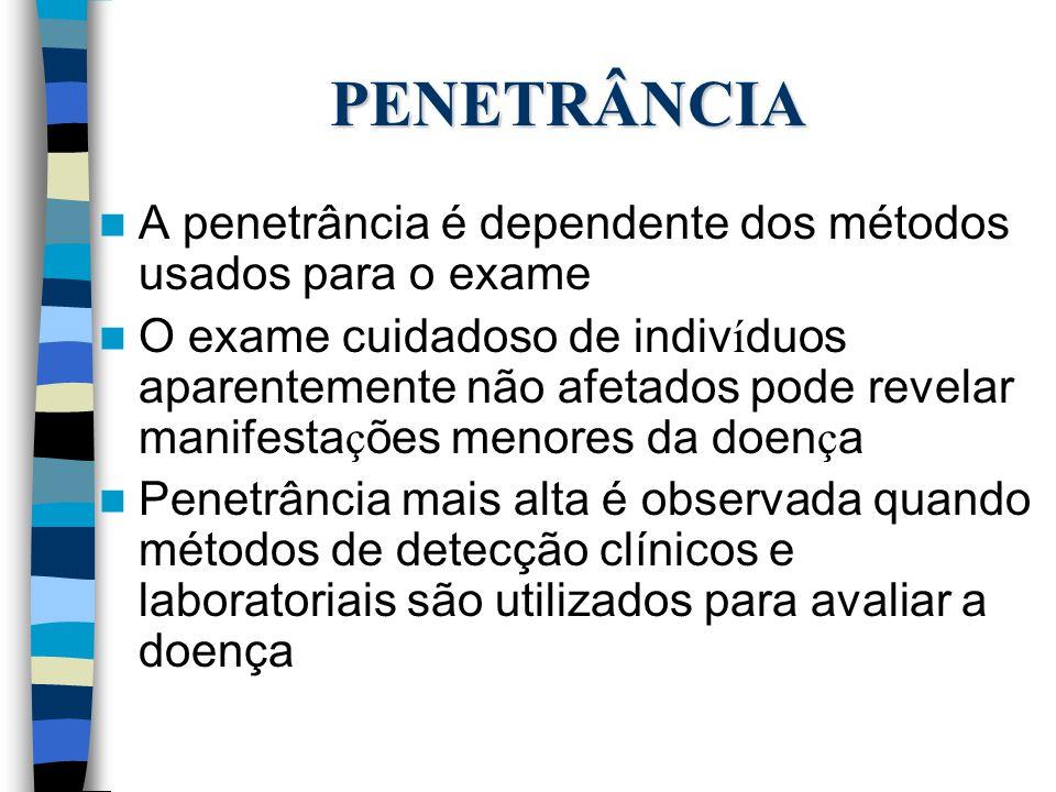 PENETRÂNCIA A penetrância é dependente dos métodos usados para o exame O exame cuidadoso de indiv í duos aparentemente não afetados pode revelar manif