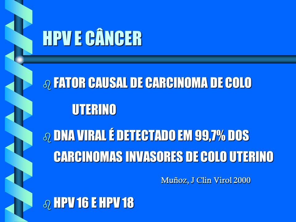 HPV E CÂNCER b FATOR CAUSAL DE CARCINOMA DE COLO UTERINO DNA VIRAL É DETECTADO EM 99,7% DOS CARCINOMAS INVASORES DE COLO UTERINO Muñoz, J Clin Virol 2