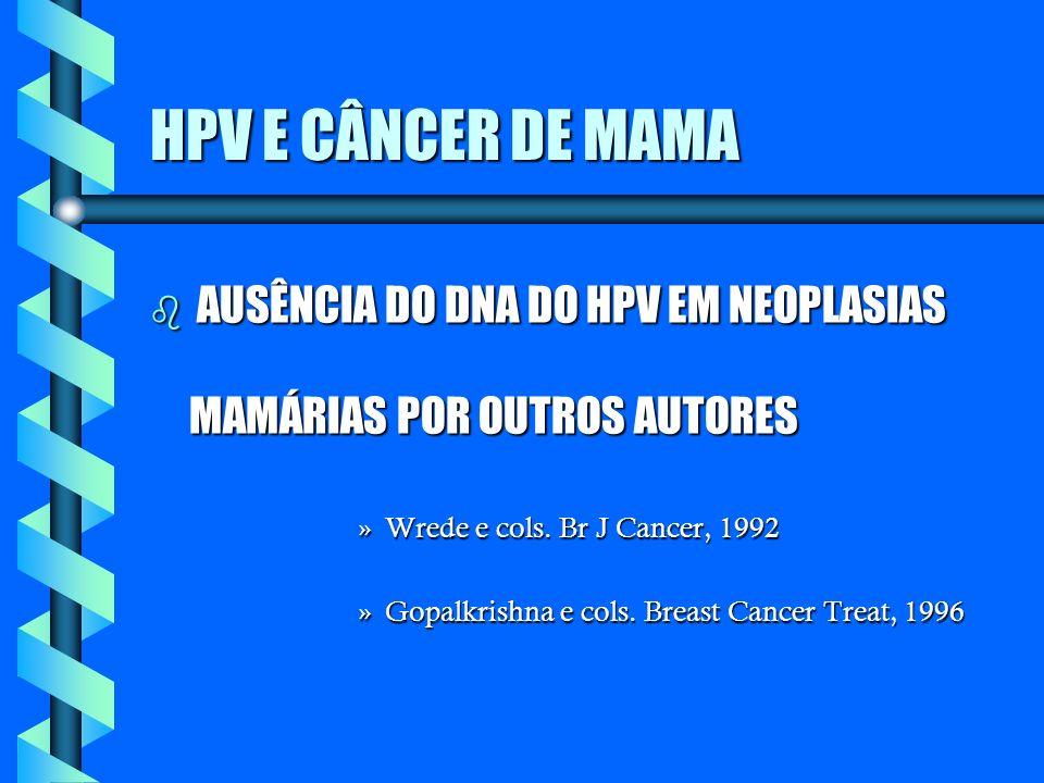 HPV E CÂNCER DE MAMA b AUSÊNCIA DO DNA DO HPV EM NEOPLASIAS MAMÁRIAS POR OUTROS AUTORES »Wrede e cols. Br J Cancer, 1992 »Gopalkrishna e cols. Breast