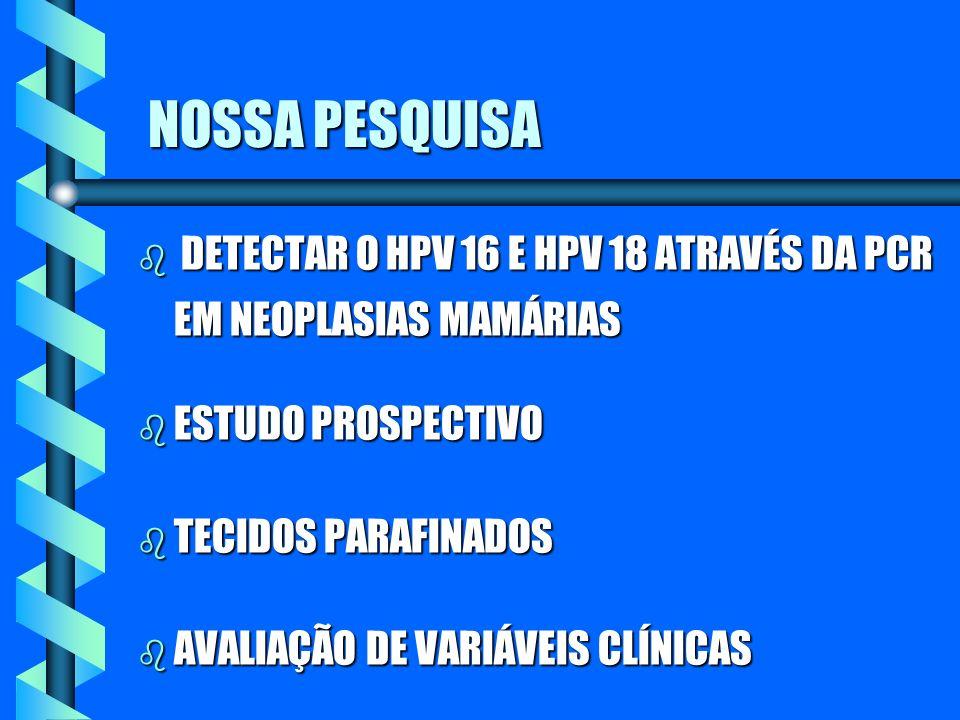 NOSSA PESQUISA NOSSA PESQUISA b DETECTAR O HPV 16 E HPV 18 ATRAVÉS DA PCR EM NEOPLASIAS MAMÁRIAS b ESTUDO PROSPECTIVO b TECIDOS PARAFINADOS b AVALIAÇÃ