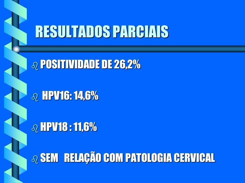 RESULTADOS PARCIAIS b POSITIVIDADE DE 26,2% b HPV16: 14,6% b HPV18 : 11,6% b SEM RELAÇÃO COM PATOLOGIA CERVICAL