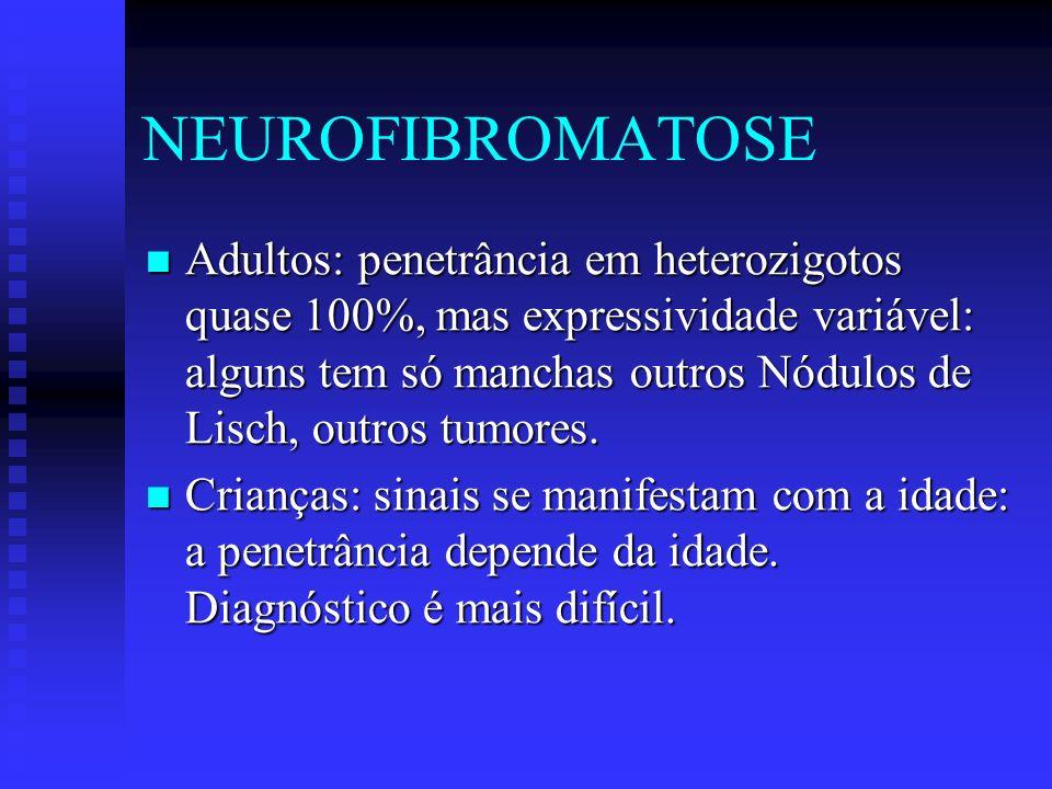 NEUROFIBROMATOSE Adultos: penetrância em heterozigotos quase 100%, mas expressividade variável: alguns tem só manchas outros Nódulos de Lisch, outros