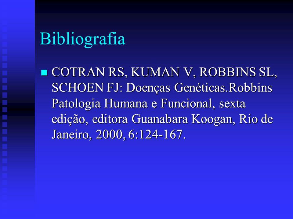Bibliografia COTRAN RS, KUMAN V, ROBBINS SL, SCHOEN FJ: Doenças Genéticas.Robbins Patologia Humana e Funcional, sexta edição, editora Guanabara Koogan