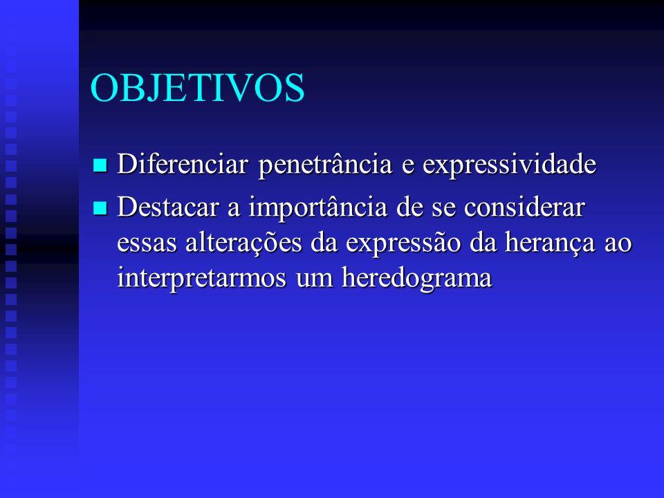 OBJETIVOS Diferenciar penetrância e expressividade Diferenciar penetrância e expressividade Destacar a importância de se considerar essas alterações d