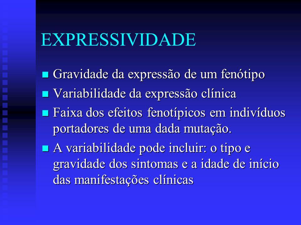 EXPRESSIVIDADE Gravidade da expressão de um fenótipo Gravidade da expressão de um fenótipo Variabilidade da expressão clínica Variabilidade da express