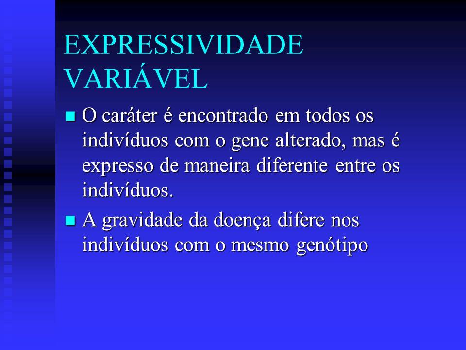 EXPRESSIVIDADE VARIÁVEL O caráter é encontrado em todos os indivíduos com o gene alterado, mas é expresso de maneira diferente entre os indivíduos. O
