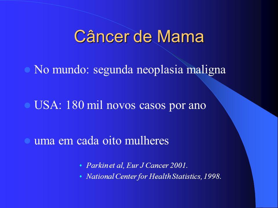 Câncer de Mama no Brasil Principal causa de morte por câncer em mulheres Previsão para o ano de 2003: – casos novos: 41.610 (46,35/100.000 mulheres) – óbitos: 9.335 (10,40/100.000 mulheres) INCA, 2003