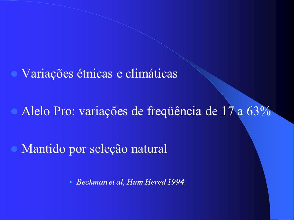 Variações étnicas e climáticas Alelo Pro: variações de freqüência de 17 a 63% Mantido por seleção natural Beckman et al, Hum Hered 1994.