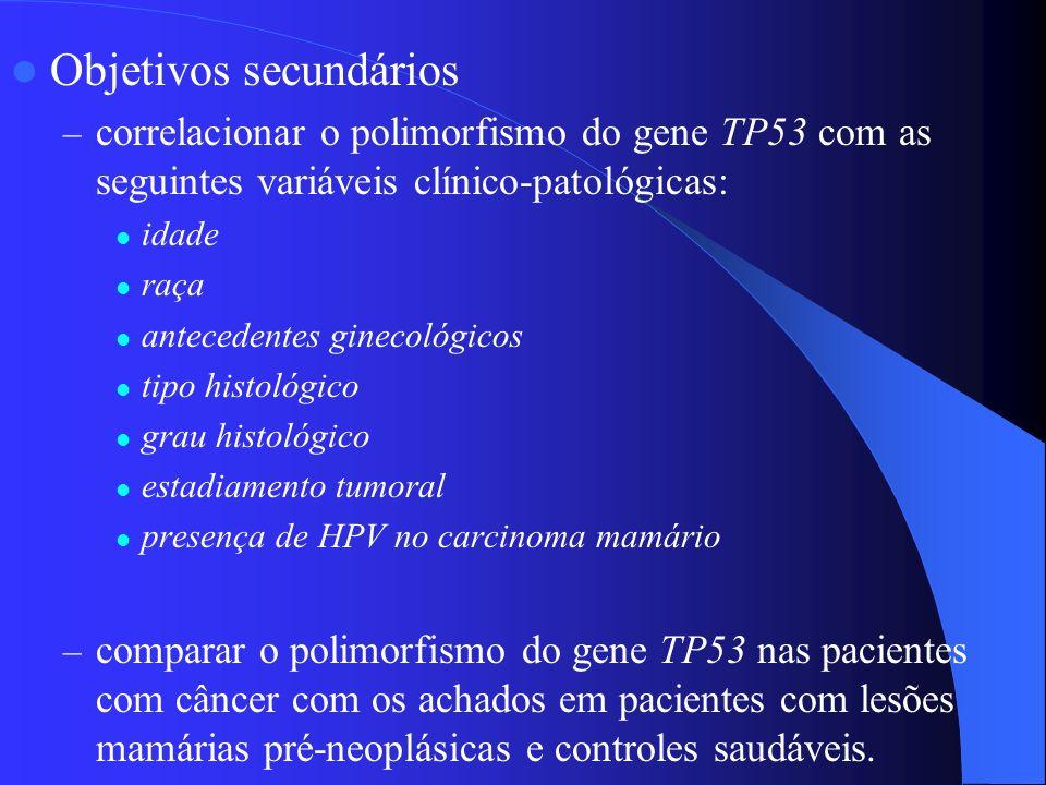Objetivos secundários – correlacionar o polimorfismo do gene TP53 com as seguintes variáveis clínico-patológicas: idade raça antecedentes ginecológico
