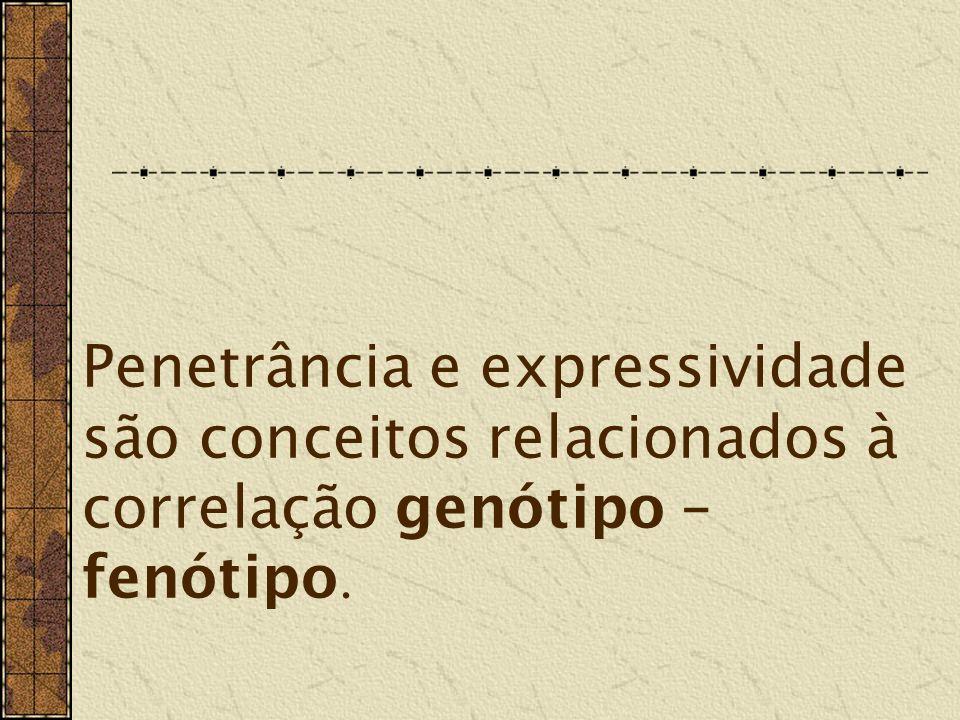 Penetrância e expressividade são conceitos relacionados à correlação genótipo – fenótipo.