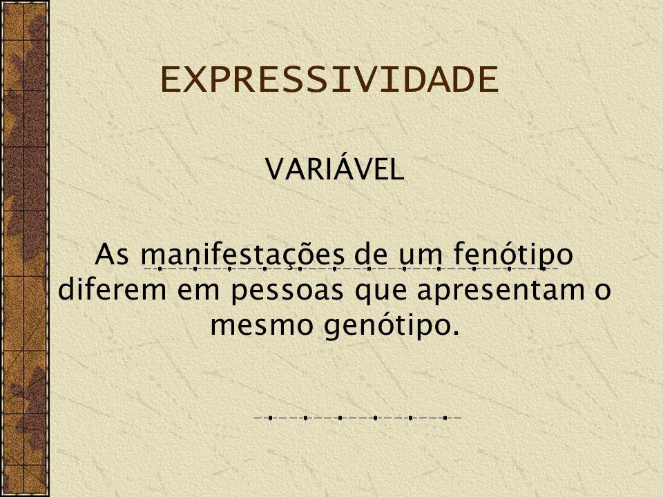 EXPRESSIVIDADE VARIÁVEL As variações são INTER e INTRA familiares.