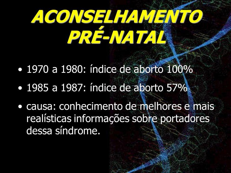 ACONSELHAMENTO PRÉ-NATAL 1970 a 1980: índice de aborto 100% 1985 a 1987: índice de aborto 57% causa: conhecimento de melhores e mais realísticas infor