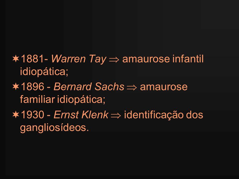 1881- Warren Tay amaurose infantil idiopática; 1896 - Bernard Sachs amaurose familiar idiopática; 1930 - Ernst Klenk identificação dos gangliosídeos.