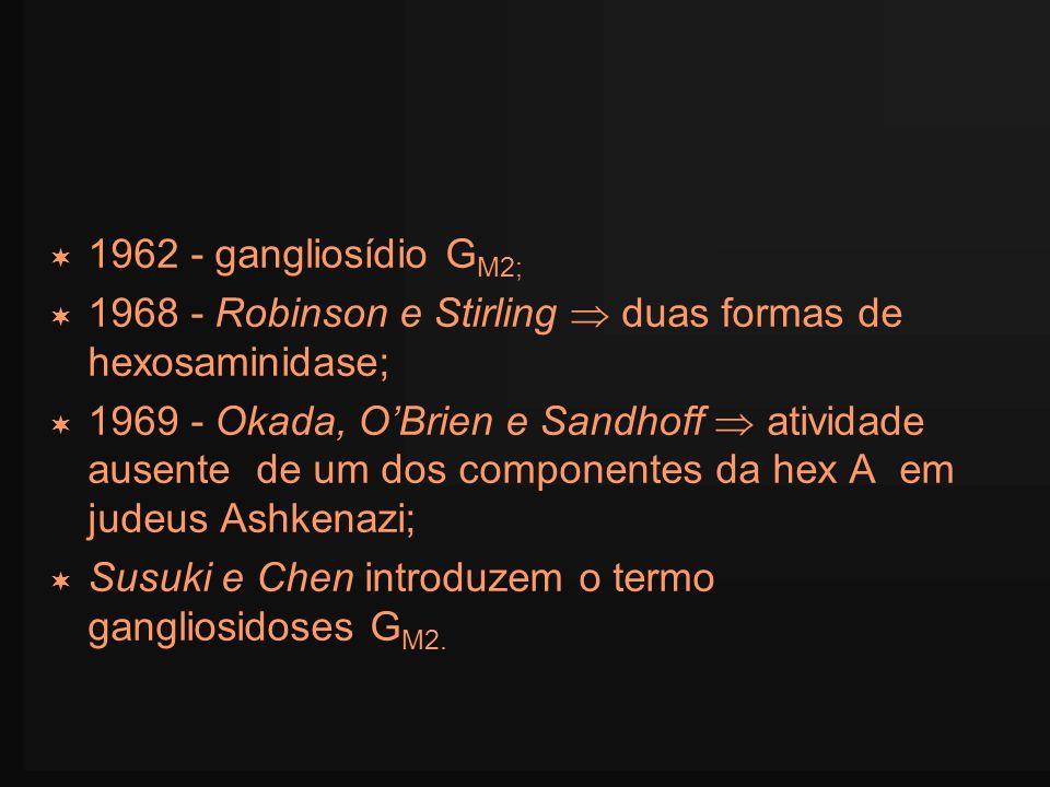 1962 - gangliosídio G M2; 1968 - Robinson e Stirling duas formas de hexosaminidase; 1969 - Okada, OBrien e Sandhoff atividade ausente de um dos compon