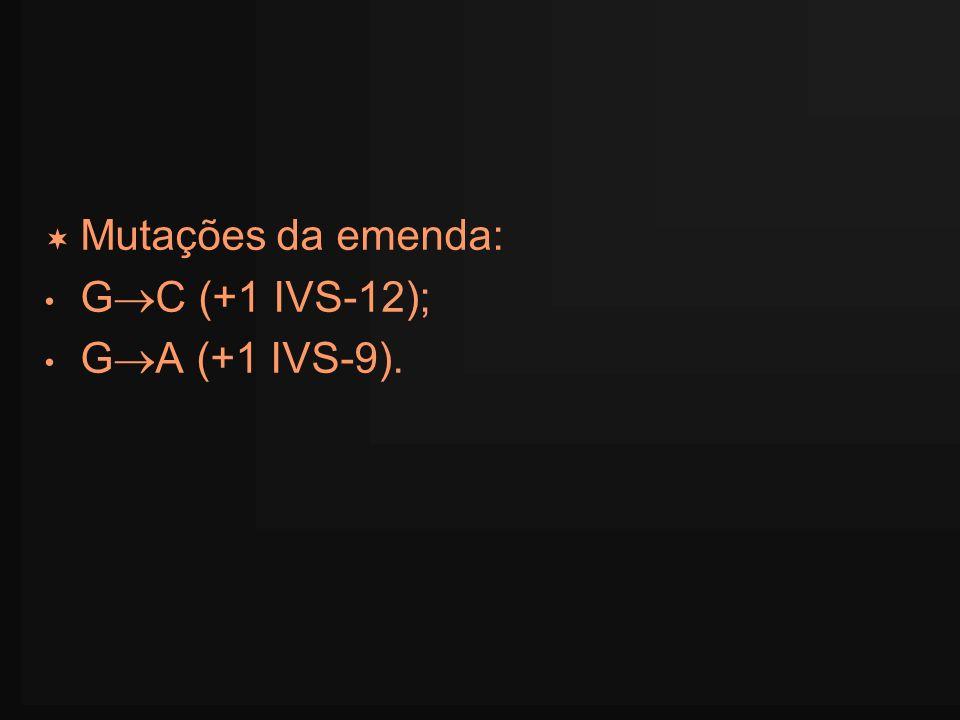 Mutações da emenda: G C (+1 IVS-12); G A (+1 IVS-9).
