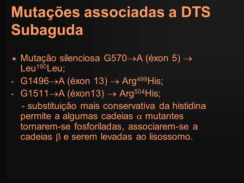 Mutações associadas a DTS Subaguda Mutação silenciosa G570 A (éxon 5) Leu 190 Leu; G1496 A (éxon 13) Arg 499 His; G1511 A (éxon13) Arg 504 His; - subs