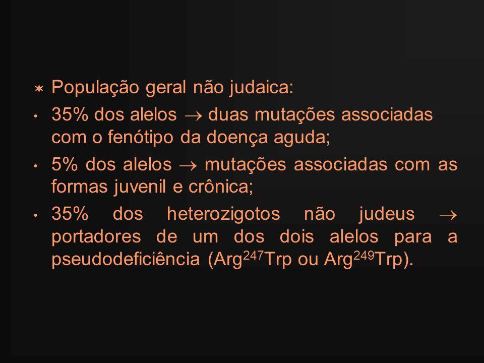 População geral não judaica: 35% dos alelos duas mutações associadas com o fenótipo da doença aguda; 5% dos alelos mutações associadas com as formas j