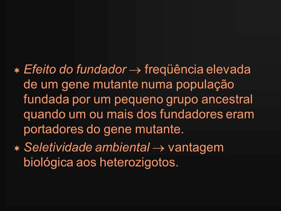 Efeito do fundador freqüência elevada de um gene mutante numa população fundada por um pequeno grupo ancestral quando um ou mais dos fundadores eram p