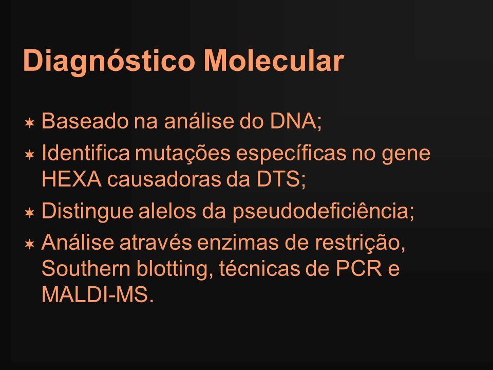 Diagnóstico Molecular Baseado na análise do DNA; Identifica mutações específicas no gene HEXA causadoras da DTS; Distingue alelos da pseudodeficiência