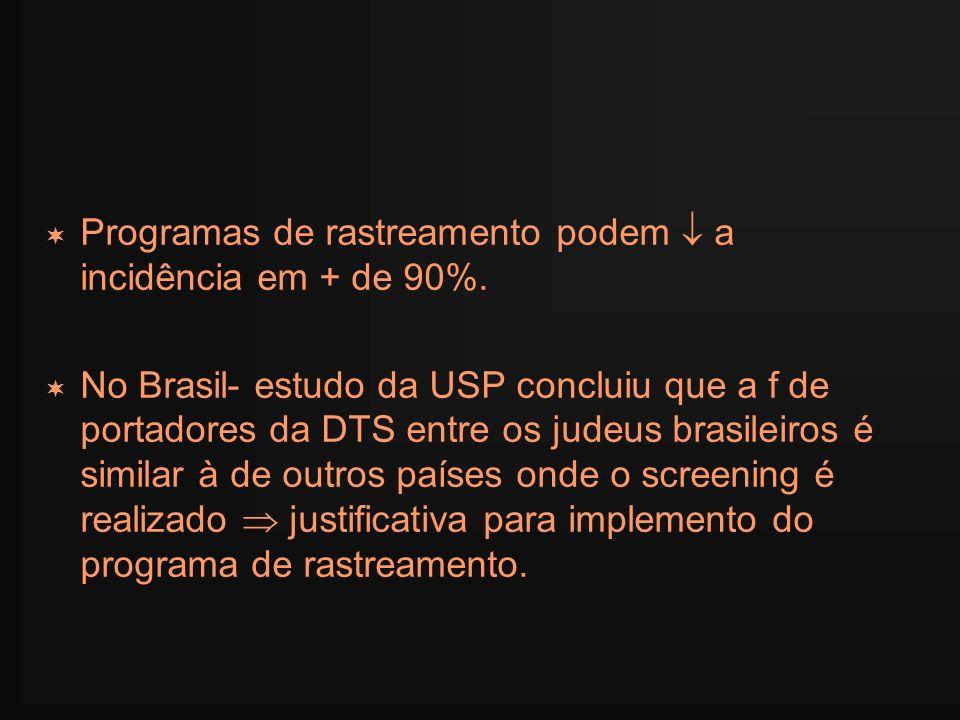 Programas de rastreamento podem a incidência em + de 90%. No Brasil- estudo da USP concluiu que a f de portadores da DTS entre os judeus brasileiros é