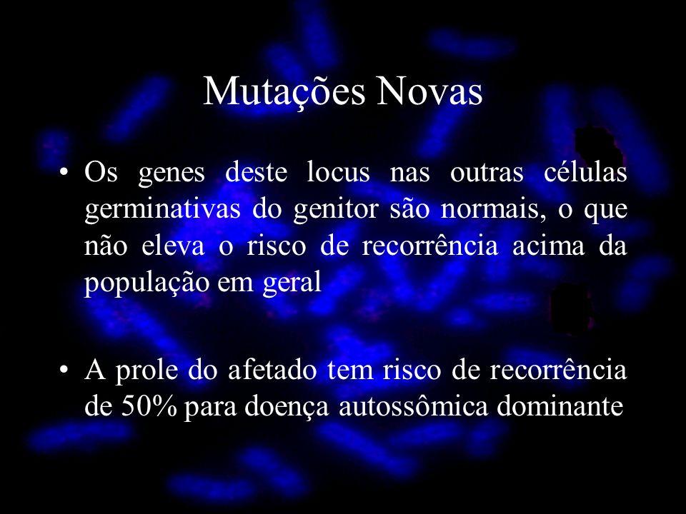 Mutações Novas Os genes deste locus nas outras células germinativas do genitor são normais, o que não eleva o risco de recorrência acima da população