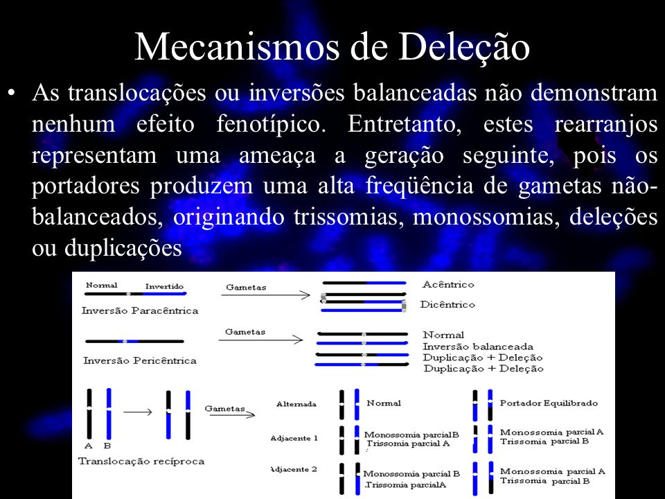 Mecanismos de Deleção As translocações ou inversões balanceadas não demonstram nenhum efeito fenotípico. Entretanto, estes rearranjos representam uma