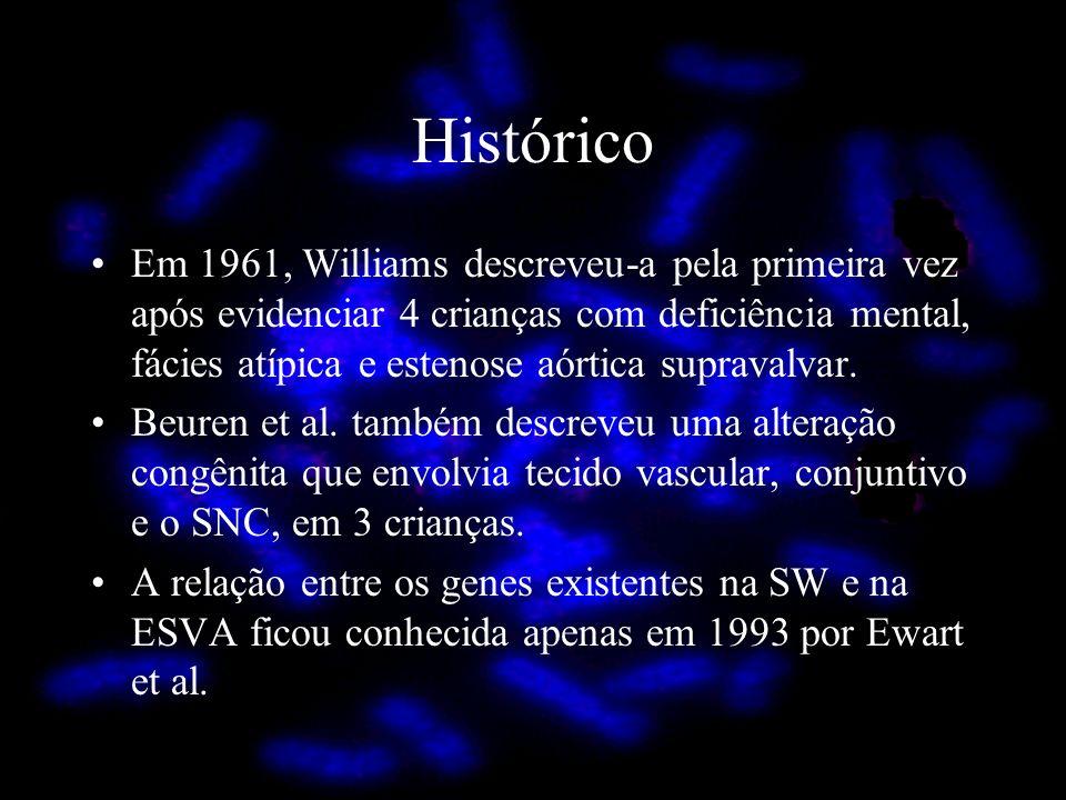 Em 1961, Williams descreveu-a pela primeira vez após evidenciar 4 crianças com deficiência mental, fácies atípica e estenose aórtica supravalvar. Beur